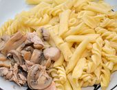 Chicken with mushrooms and pasta