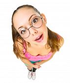 Funny schoolgirl with nerd glasses isolated