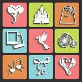 stock photo of wedding feast  - Vector Design wedding Flat icons for Web and Mobile - JPG