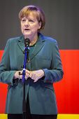 HANOVER, GERMANY - APRIL 7:  Chancellor Angela Merkel speeching at the opening of Hannover Messe. Ap