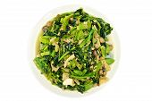 pic of groundnut  - Morning glory and spinach fried with tofu groundnut and Champignon mushroom isolated with white background - JPG