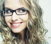 foto of nerd glasses  - calm and friendly blond woman with glasses - JPG