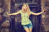 picture of independent woman  - Portrait of Beautiful Blonde Woman on Wooden Door Background - JPG
