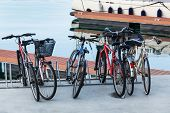 a bike parking at the seaport
