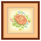 Embroidery, Flower Bouquet Cross Stitch In  Mahogany Picture Frame