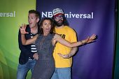 LAS VEGAS - APR 8:  Mark McGrath, Kari Wuhrer, Judah Friedlander at the NBCUniversal Summer Press Da