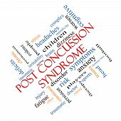 image of cognitive  - Post Concussion Syndrome Word Cloud Concept angled with great terms such as brain injury trauma and more - JPG
