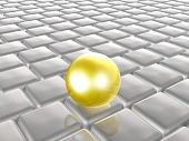 Yellow Sphere On Grey Cubes