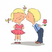 picture of hand kiss  - Hand drawn Illustration of kissing boy and girl - JPG