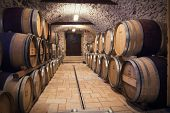 stock photo of keg  - Very high resolution rendering of an ancient wine cellar - JPG