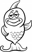 Funny Fish Cartoon Coloring Page