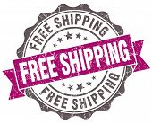 picture of shipping receiving  - Free shipping violet grunge retro vintage isolated seal - JPG