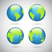 pic of continent  - Earth globe icons set with world map continents and oceans isolated vector illustration - JPG