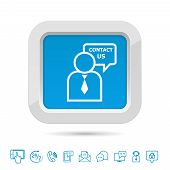 stock photo of helpdesk  - Contact us button template with helpdesk service and customer icons isolated vector illustration - JPG