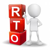 3D Illustration Of Person With Word Rto Cubes