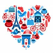 foto of glass heart  - Love Paris heart symbol with icons set isolated vector illustration - JPG
