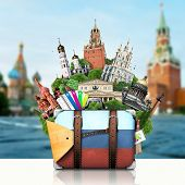 Russia, landmarks Moscow, retro suitcase, travel