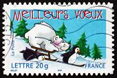 Postage Stamp France 2005 Two Penguins, Bear And Sled