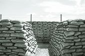 stock photo of sandbag  - Trench of death sandbags world war one - JPG
