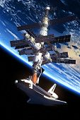 image of starship  - Space Shuttle And Space Station Orbiting Earth. 3D Scene. Elements of this image furnished by NASA. - JPG
