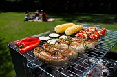 foto of grilled sausage  - A summer garden party with grilled food - JPG