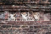 stock photo of vihara  - Dance girls on the wall of RAnkot Vihara in Polonnaruwa Sri Lanka