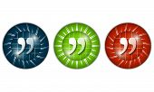 stock photo of quotation mark  - set of three colored icons with quotation mark - JPG