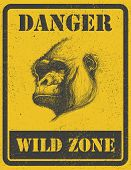 warning sign. danger signal with gorilla. jpeg version