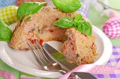 picture of meatloaf  - easter meatloaf in ring cake shape with mushrooms and red pepper for dinner - JPG