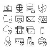 Information technology security icons // Plain line // isolated vector illustration