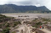 stock photo of bromo  - View from volcano Bromo in Java in Indonesia - JPG