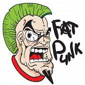 stock photo of mohawk  - fat punk face with green mohawk cartoon - JPG
