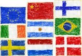 Hand painted acrylic flags.  Including flags of EU, China, Finland, Ireland, Argentina, Brazil, Swed