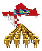 Lines of people with Croatia map flag illustration