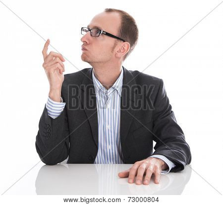 Manager has brilliant idea - suit, glasses and shirt isolated on white