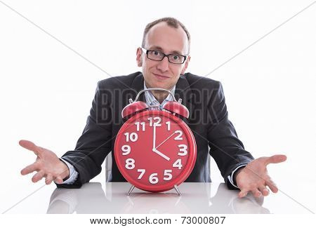 Business man with clock - time is running out