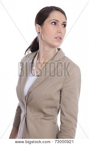 Isolated business woman looking sideways or away