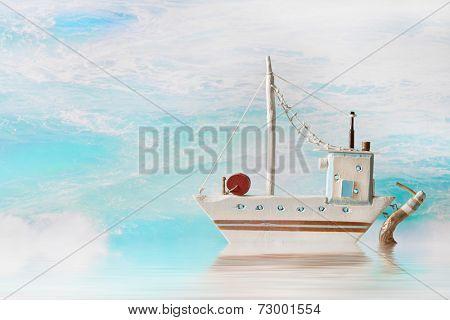 Summer, sun, sea, boat - maritime nautical background