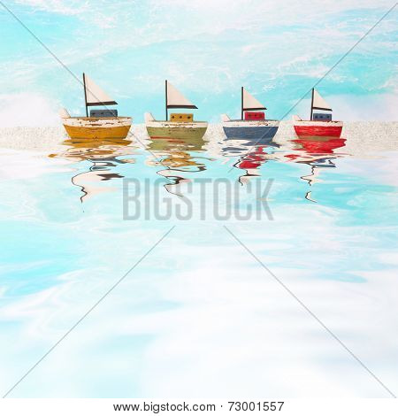 Four sail boats as background - blue Maritime Decoration