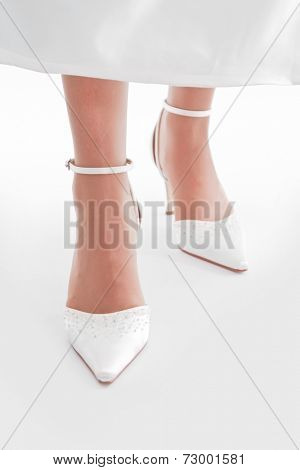 Bride's feet, shoes, flooring, dress - wedding, marriage.