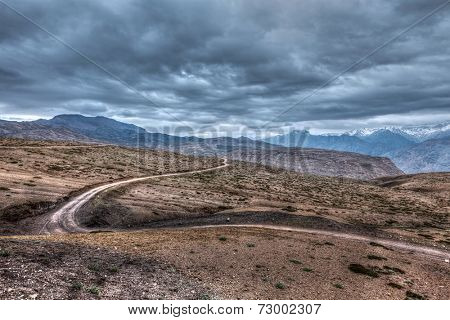 High dynamic range (HDR) image of road in Himalayas. Spiti Valley, Himachal Pradesh, India