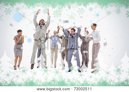 Very happy people with money falling from the sky against green snowflake design