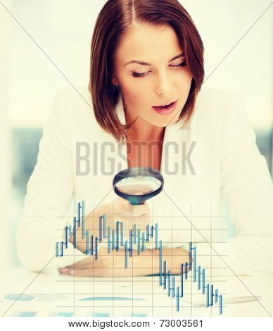 business, money, documents and office concept - businesswoman working with graphs and forex chart in office