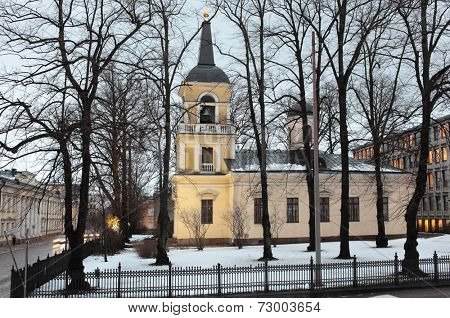 HELSINKI, FINLAND - JANUARY 12, 2012: View to the Holy Trinity church from the Kirkkokatu. The church was built in the neo-classical style in 1826 under the direction of the architect Carl L. Engel