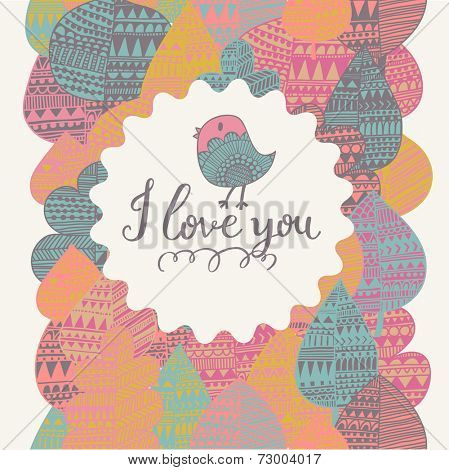 I love you. Bright concept card in vector. Cute bird in textbox on stylish seamless pattern made of beautiful leafs