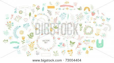 Set of Floral Decor. Vector Elements Collection with Leafs and Flowers for Greeting Cards, Flyers and Banners Design.