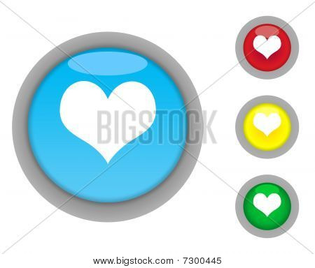 Love Heart Button Icons