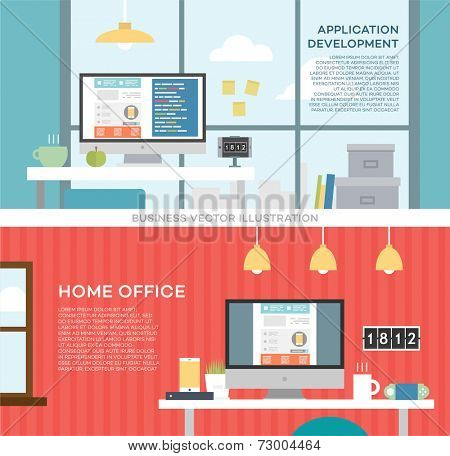 Set of Flat Design Icons. Application and Web Sites Development Concept. Website Coding or Html Programming Concept Vector. Programmer or Coder Workflow. Web Services Business Idea. Modern Style.