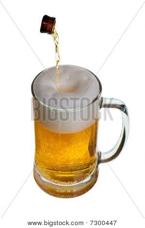 Glass Of Beer With Bottle Neck
