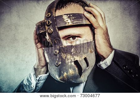 frustrated, dangerous business man with iron mask and expressions
